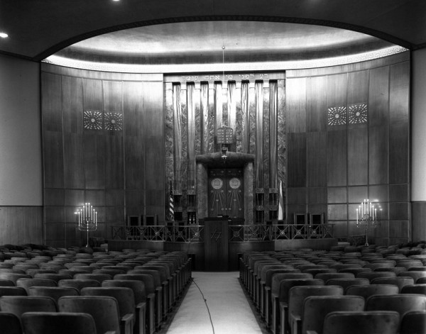 Interior of Adat Shalom Synagogue, 1956