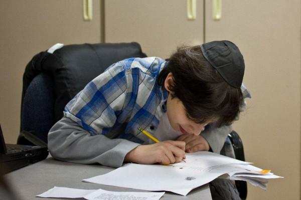 In Mrs. Schuchman's class Hebrew takes practice.