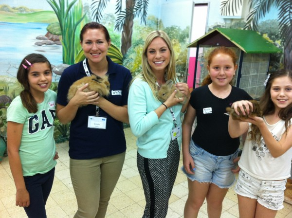 Abby Soble with TALMA teaching partner and students... with bunnies at the Golan Elementary School in Nazareth Illit