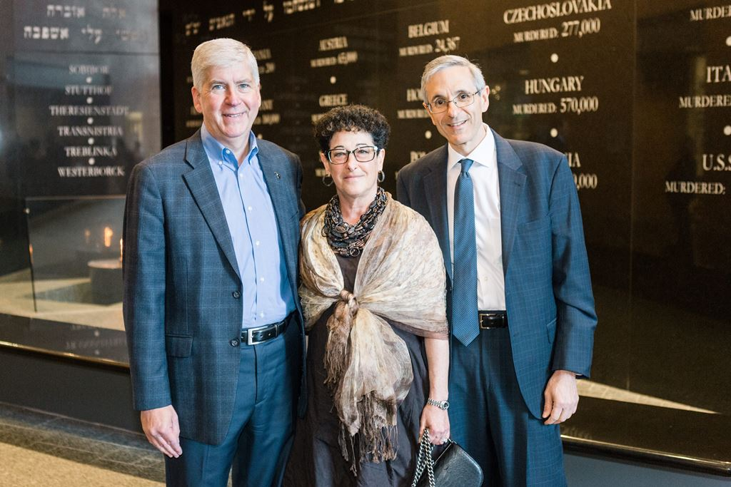On tour at the Holocaust Memorial Center: Governor Rick Snyder with Lori Talsky Zekelman and Alan Zekelman