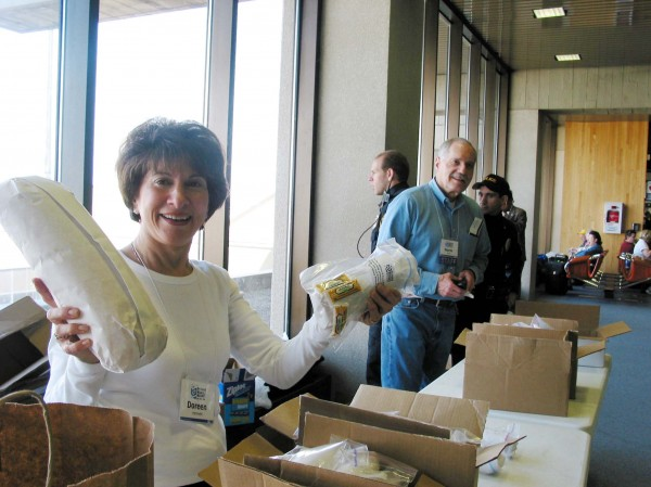 Salami send-off compliments of Doreen Hermelin, Miracle Mission IV, 2004
