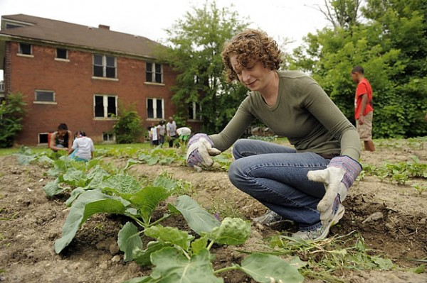 Rabbi Ariana Silverman pitches in with the garden. Photo previously published July 8, 2013 with a story in the Detroit News/ David Guralnick