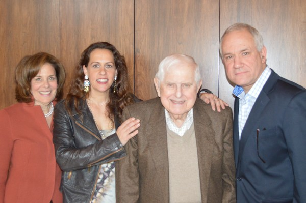 JFS Family portrait: Joseph Orley (center) with daughter  Joy Nachman, granddaughter, Elanah and Perry Ohren, CEO of Jewish Family Service.