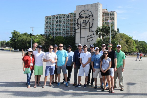 Group Upon Arrival in Central Square, Havana