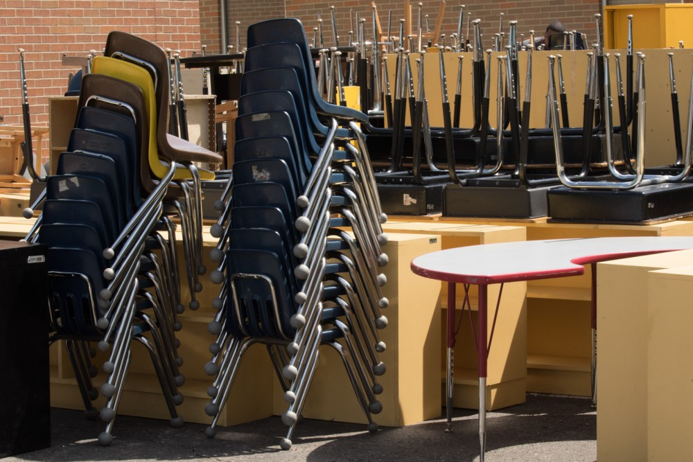 On May 31, Hillel rolled out student desks and chairs by the score and classroom furniture too numerous to inventory -- all to be donated in a split between Yeshivat Darchei Torah and Detroit Community Schools.