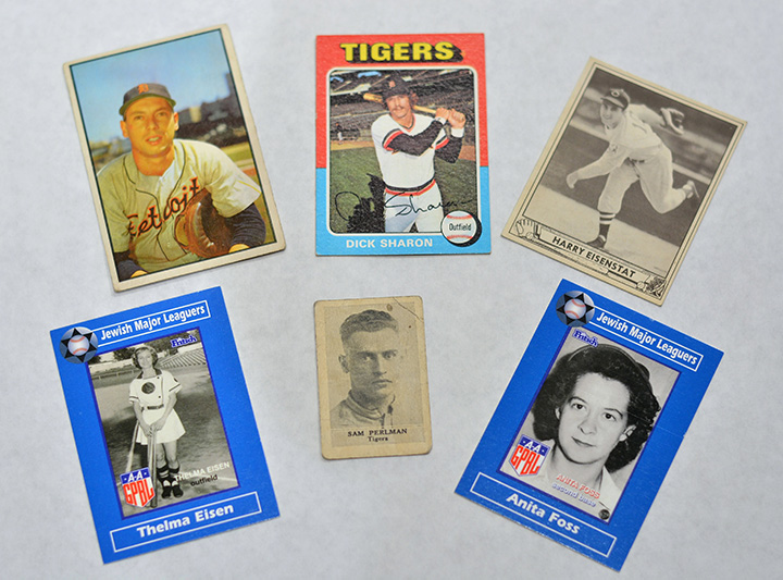 Baseball Cards of Jewish Players, clockwise from top left: Joe Ginsberg, Tigers Catcher; Dick Sharon, Tigers Outfielder; Harry Eisenstat, Tigers Pitcher; Anita Foss, Grand Rapids Chicks and Muskegon Lassies; Sam Perlman, series of 21 from Honey Boy Ice Cream; Thelma Eisen, Grand Rapids Chicks