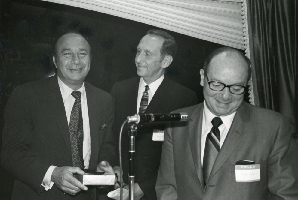 From the Leonard N. Simon Jewish Community Archives: Mawell Jospey (center) with Paul Zuckerman (left) and Hyman Safran (right) at the Stag Day Golf Outing for the Detroit Service Group in 1969.